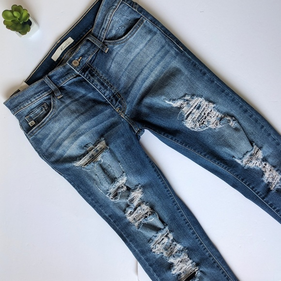 Kancan Jeans Kancan Distressed Midrise Cropped Skinny Jeans 29 Poshmark